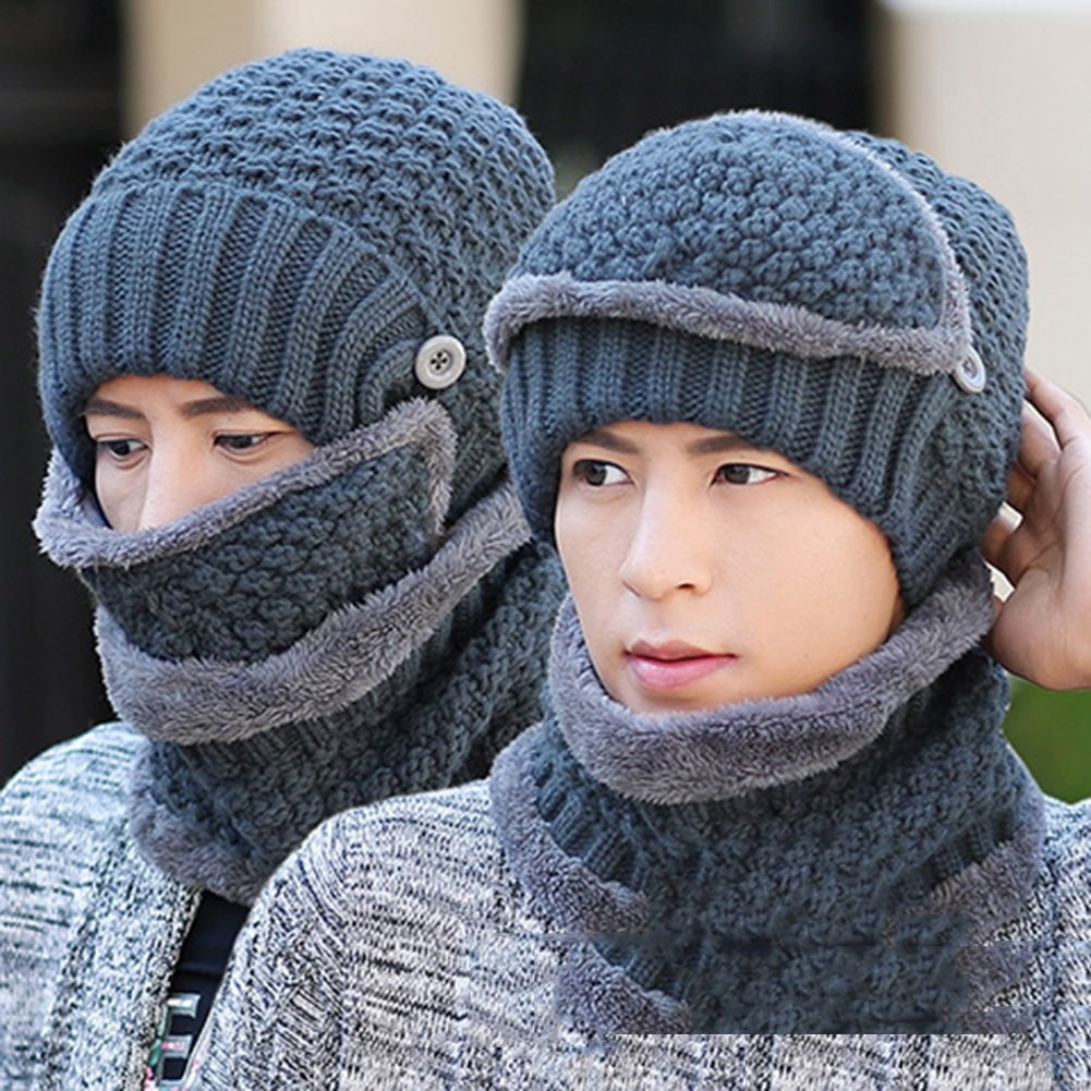 13  PENGFEI Scarf Hat Mouth Mask Fall and Winter Thickening 3 2piece Set, 19 colors Optional (color   16 )