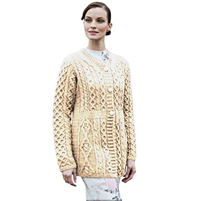 100% Irish Merino Wool Ladies A Line Aran Sweater by Carriag Donn at Amazon Women's Clothing store: Cardigan Sweaters