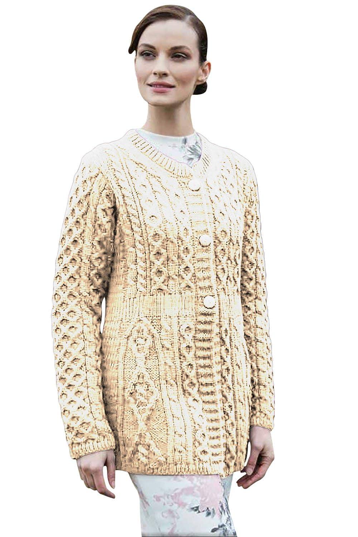 100 Irish Merino Wool Ladies A Line Aran Sweater By Carriag Donn At