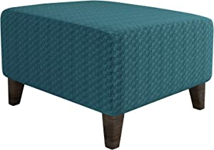 MAXIJIN Newest Jacquard Ottoman Slipcovers Folding Storage Stool Furniture Protector Cover Soft Thick Rectangle Foot Rest Slipcover with Elastic Bottom (Ottoman Small, Peacock Blue)