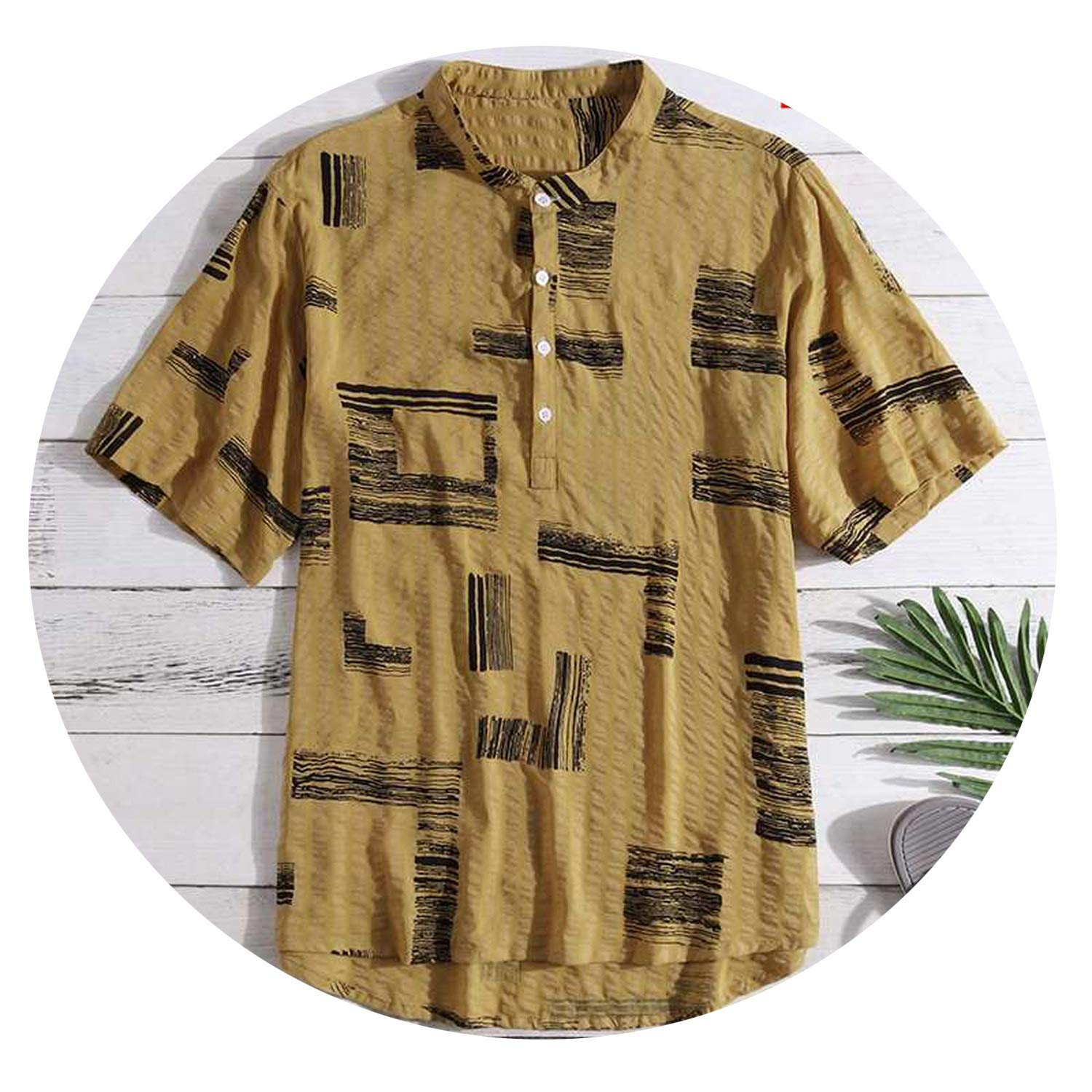 Short Sleeve Print Shirt Men Stand Collar Button Casual Loose Tops Hawaiian Shirts 2019