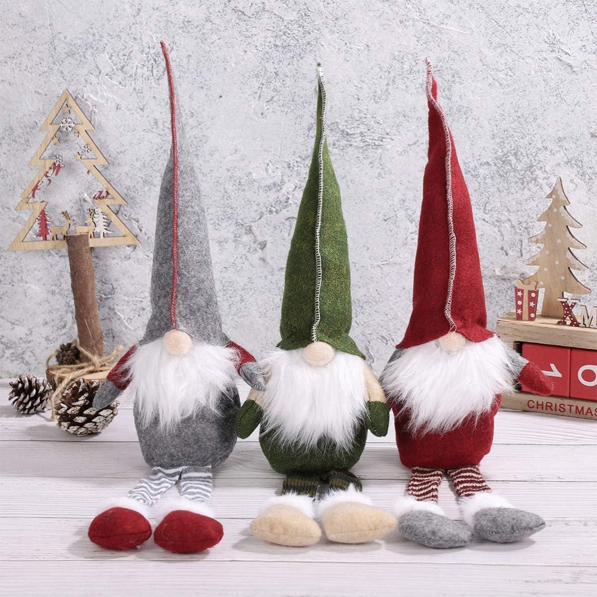NUOBESTY Santa Gnome Plush 3PCS Xmas Treetop Christmas Decoration Plush Desktop Ornaments for Christmas Santa Decoration Table Decor Red, Green, Gray