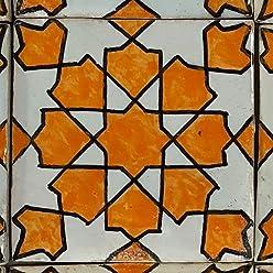 HBF8027 Casa Moro Marokkanische Keramikfliese Elisa 10x10 cm bunt handbemalte orientalische Fliese Kunsthandwerk aus Marokko Wandfliese f/ür sch/öne K/üche Dusche Badezimmer