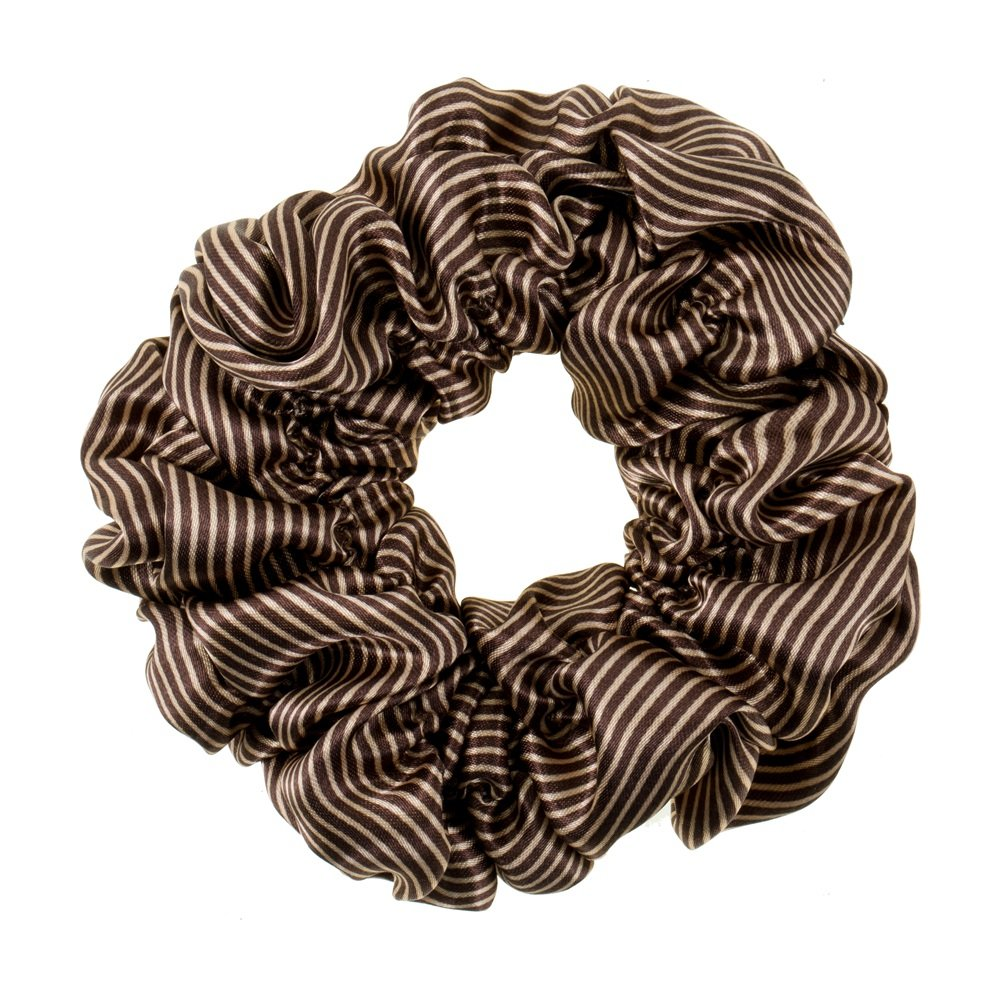 Great Quality Regular Soft Satin Hairband/Hair Scrunchy/Ponytail Holder/Elastic Band With Stripes Pattern In Dark Brown And White Colours By VAGA