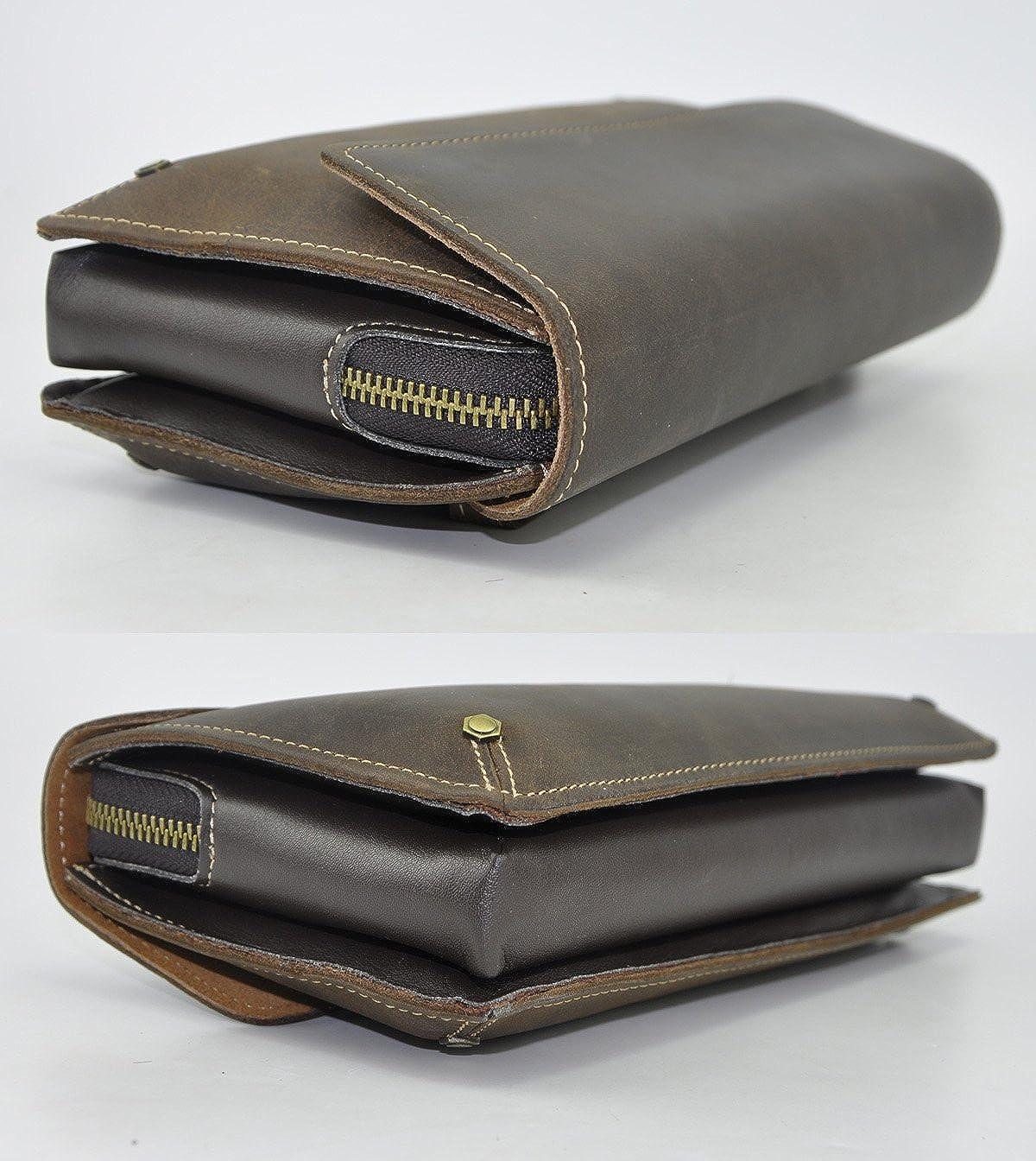 Leaokuu Men Leather Business Briefcase Clutch Hand Under Arm Bag Male Organizer Wallet Tablets Case
