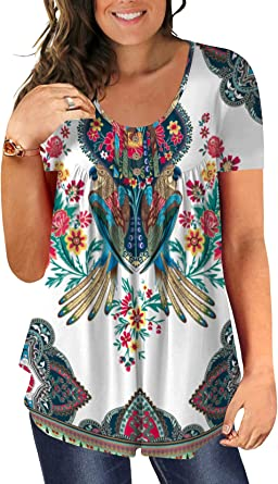 Beadchica Women's Plus Size Tunic Tops Summer Casual Flowy Tshirts Ruched Botton Up Short Sleeve Blouses