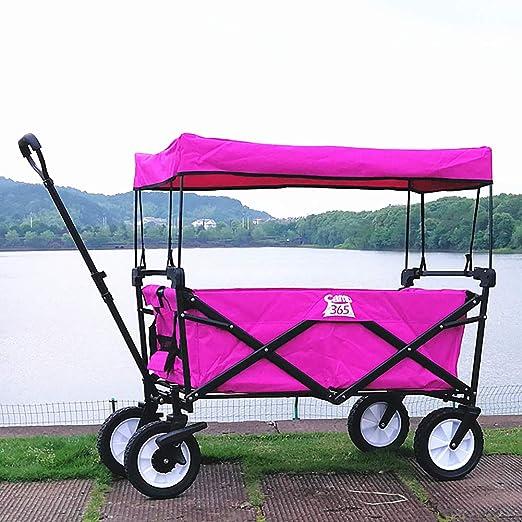Acyon Carro de Mano Plegable Carretilla para jardín con Dosel extraíble, Carro de jardín de Gran Capacidad para Compras, Playa, césped, Deportes,Carga Máxima 80 kg,D:Pink: Amazon.es: Hogar