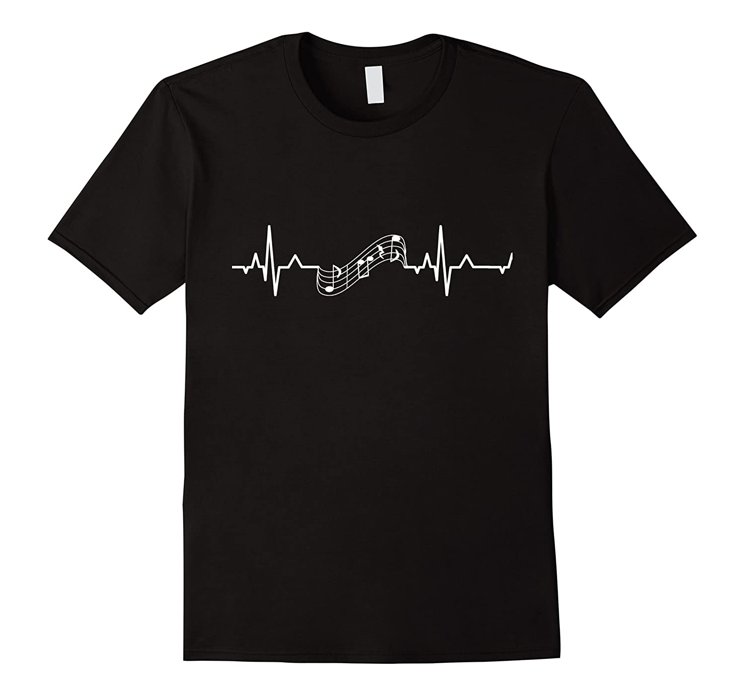 Music Staff Heartbeat T-Shirt Heartbeat to Music Notes White-RT