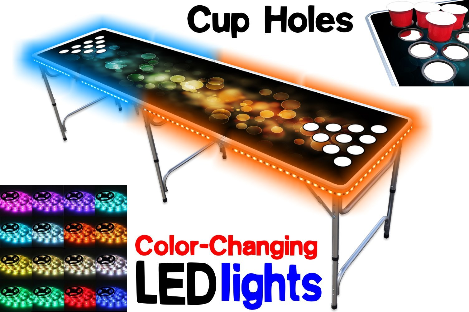 PartyPongTables.com 8-Foot Beer Pong Table with Cup Holes and LED Lights - Bubbles Edition by PartyPongTables