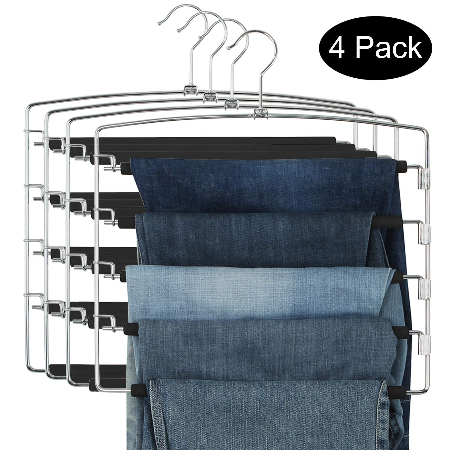DOIOWN Pants Hangers Slacks Hangers Space Saving Non Slip Stainless Steel Clothes Hangers Closet Organizer for Pants Jeans Trousers Scarf (4-Pack(5 Layer-Upgrade Version)) by DOIOWN
