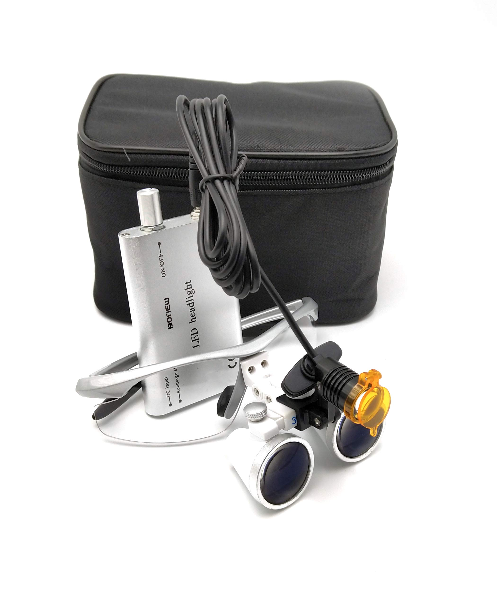 Global-Dental 3W LED Headlight Lamp with Filter +3.5X 420mm Binocular Loupes Optical Glasses Bag (Silver)
