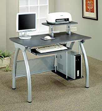 coaster 800442 contemporary computer desk with keyboard tray and computer storage silver amazoncom coaster shape home office computer