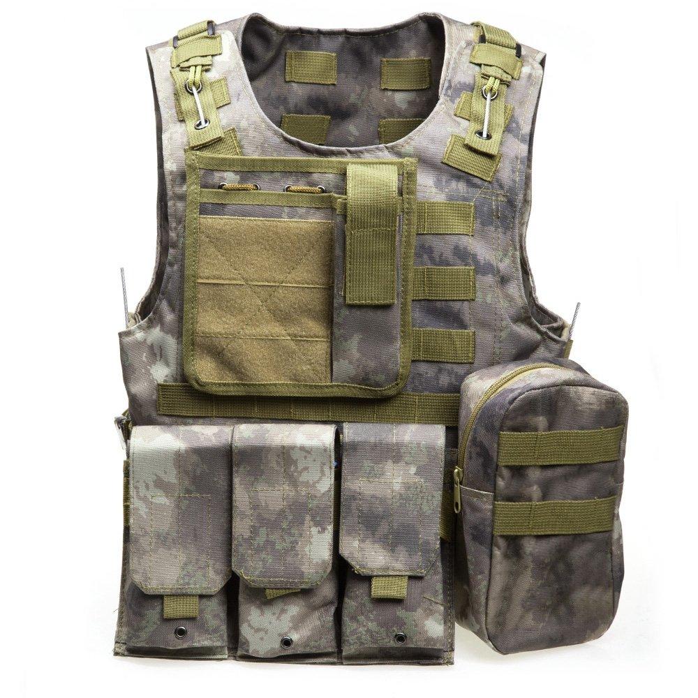 アウトドアハンティングタクティカルキャリアベストMOLLEウエストコートマルチポケット付きペイントボールゲームトレーニング B075M9X359 FG Camouflage FG Camouflage