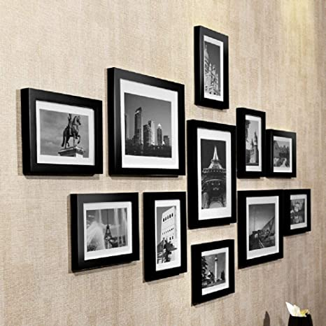 Amazon Com Tzsmzpq Photo Frames Wood Frame Photo Frame Wall Creative Combination Living Room Bedroom Wall Photo Wall Frame Wall Combination Of Classic Black