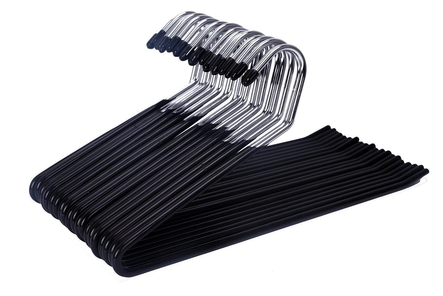 J.S Hanger - Open Ended Trouser Hangers. Anti-Slide Clothes Hangers with Chrome and Black Finish (20 hangers) J.S. Hanger Eisho QS01