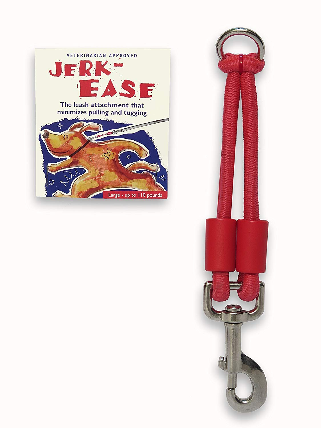 Jerk-Ease Patented Shock Absorber Bungee Dog Leash Attachment, Large, Red