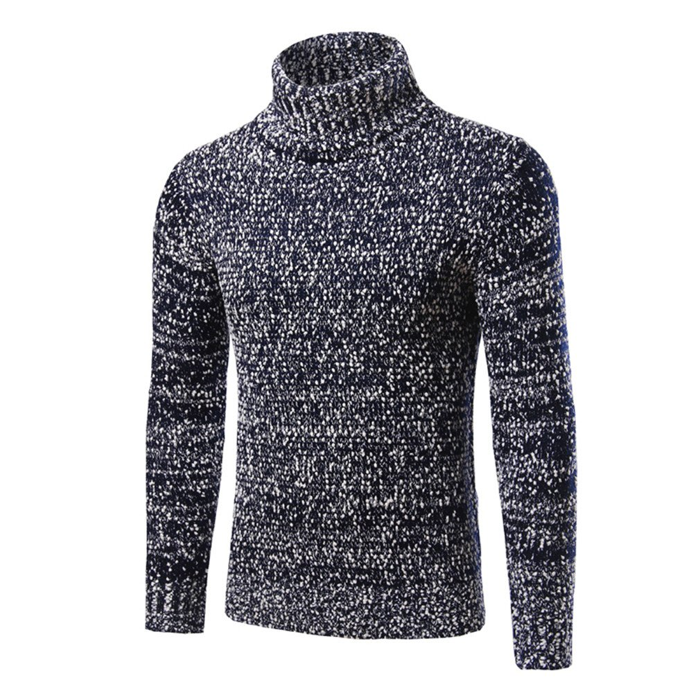YanCui@ Men's Daily Casual Autumn Winter Fashion High Collar Sweater ,Navy Blue,L