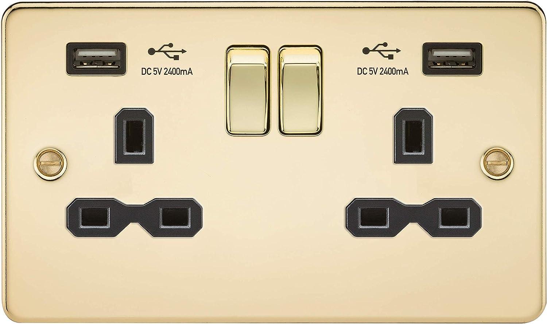 Knightsbridge FP2000BB Brushed Brass FPAV2000BB Flat Plate 10A 1G 2 Way Switch