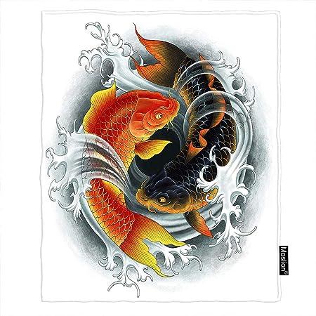 Moslion Manta Color Negro y Rojo, de 30 x 40 Pulgadas, Dos Carpas ...