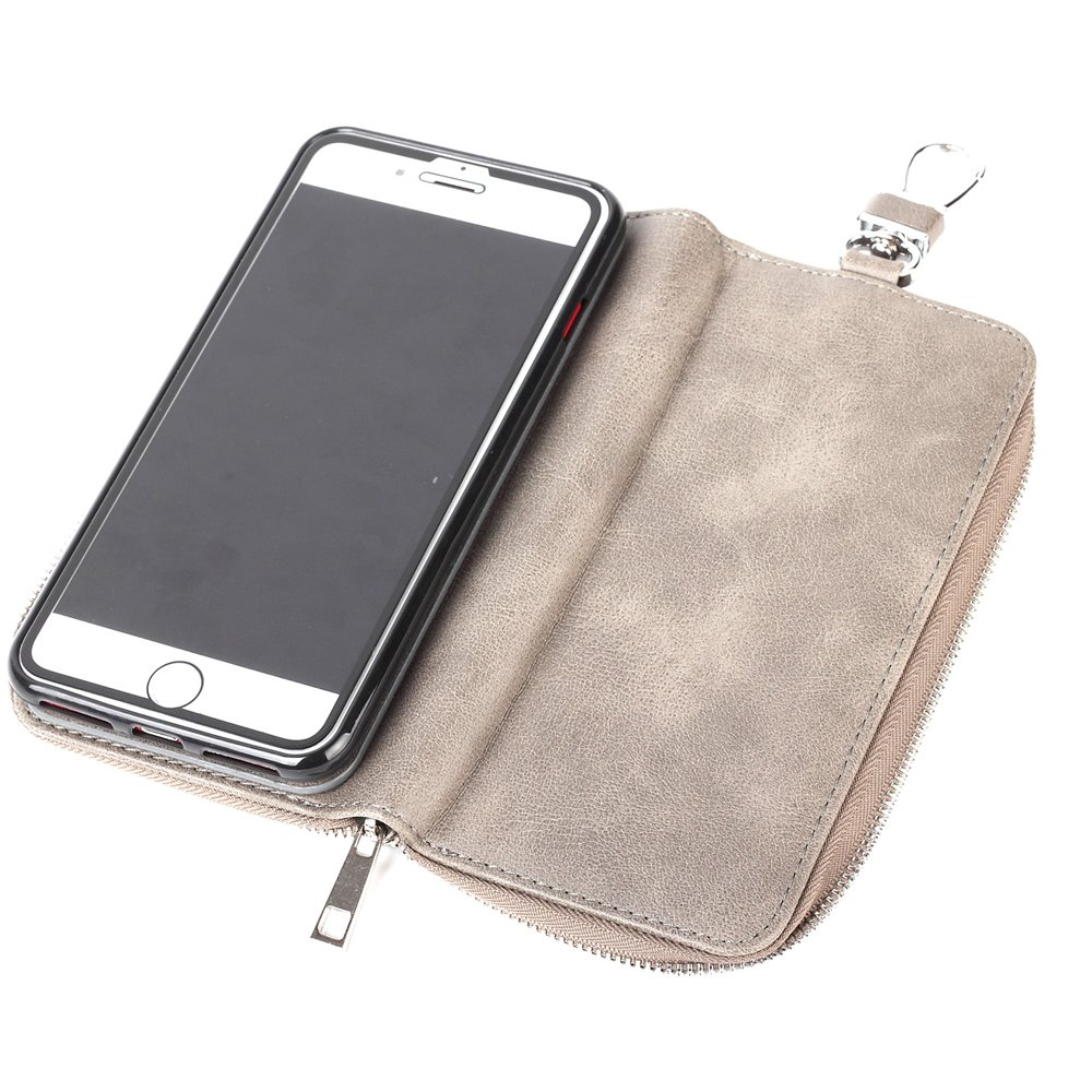 iPhone 7 Case with Card Holder for Women,Credit Card Holder Slot Case Magnetic Phone Sleeve Heavy Duty Shockproof Protective Cover with Zipper Wallet Key Case for iPhone 7/iPhone 8