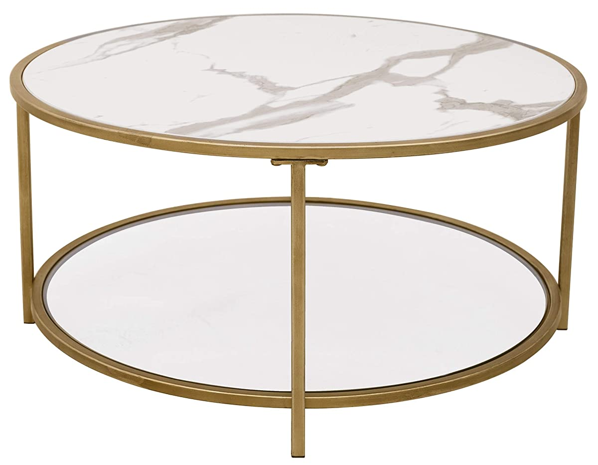 """Ravenna Home Parker Circle Shelf Storage Coffee Table, 31.5""""W, Faux Marble & Gold"""