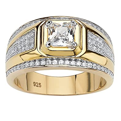 23b609c27bc Men s Square-Cut White Cubic Zirconia 14k Gold over Sterling Silver Ring  Size 9