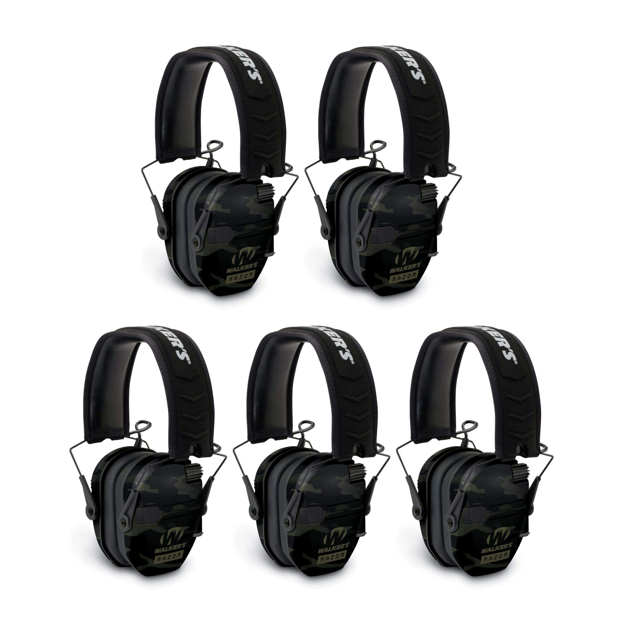 Walkers Razor Slim Electronic Shooting Muffs 5-Pack, Multi cam Camo Black (5 Items) by Walker's Game Ear
