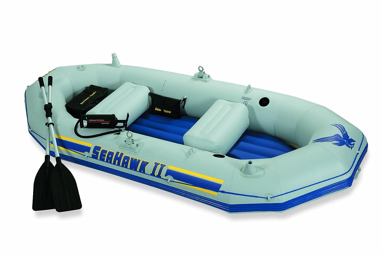 Intex Schlauchboot mit beweglichen Ruderdollen und Angelhalterung Seahawk II Set, mehrfarbig, 297 x 127 x 46 cm, 68377NP