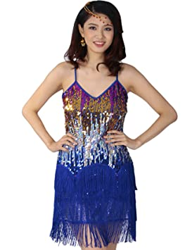 Astage Gatsby 1920er Latin Rhythms Salsa Cha Cha Sequin Fringe Dance Costumes, Deporte, color