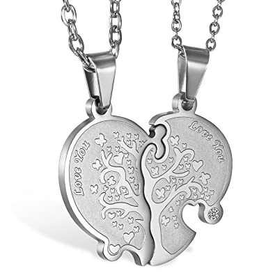 283ff92e06 Oidea Stainless Steel His Hers Love You Life Tree Heart Puzzle Necklace,Silver  for Couples