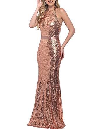 Monalia Womens Sequins Halter Long Prom Dresses Formal Evening Gown Size 6 Rose Gold