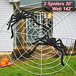 "LUDILO 3PCS Halloween Spider Web Halloween Spider Decorations 142"" Mega Spider Web 30"" Giant Spider Huge Spider Web Indoor Outdoor Halloween Decorations Costume Party Garden Yard Haunted House Décor"