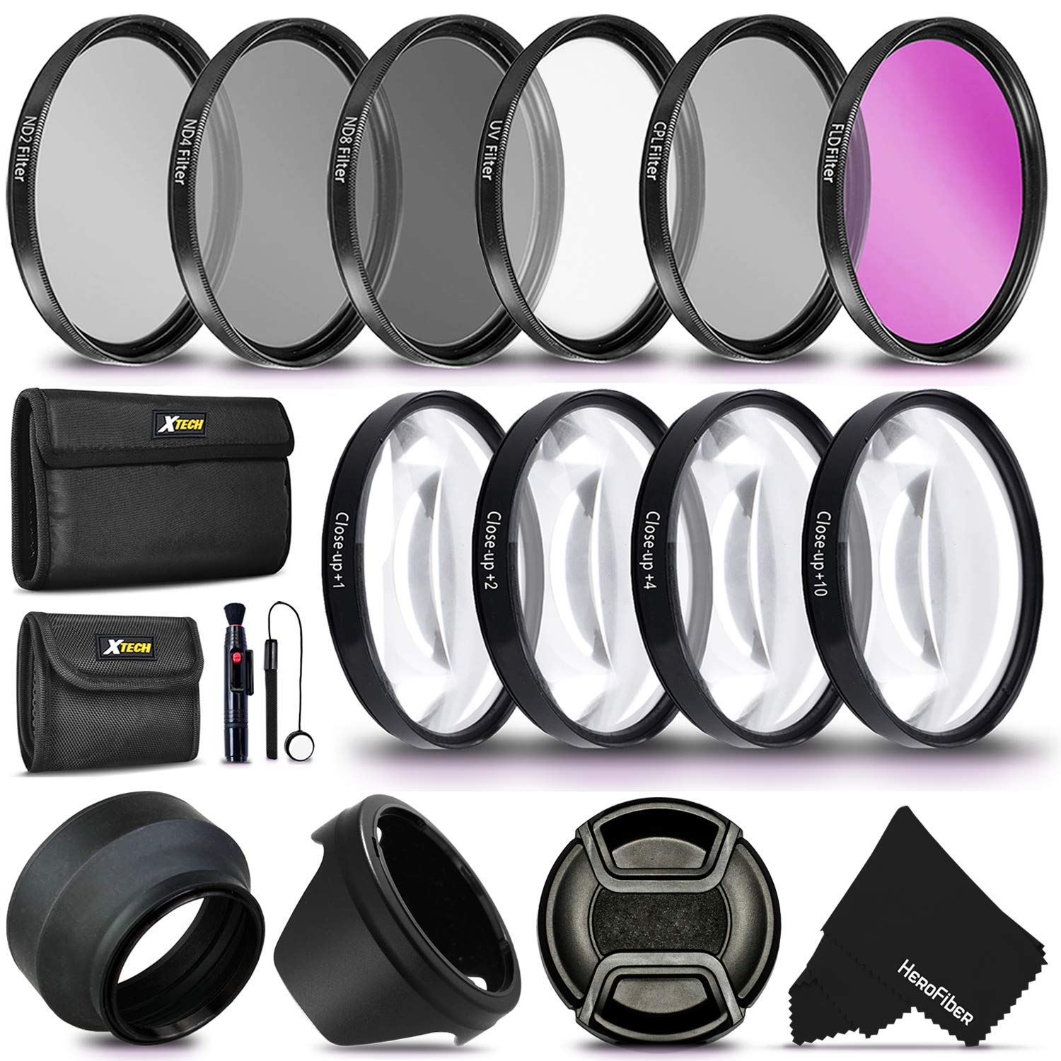 55MM Professional Lens Filter Accessory Kit (UV FLD CPL) ND Filters Set (ND2 ND4 ND8) 4 Close-up Macro Filters (+1 +2 +4 +10) for Nikon D3400 D5600 D7500 Camera with Nikon AF-P DX 18-55mm Lens by HeroFiber