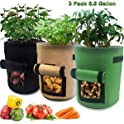 3-Pack Nicheo 6.5-Gallon Cloth Grow Bags with Flap and Handles