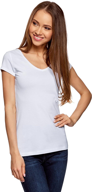 oodji Collection Women's Basic V-Neck T-Shirt
