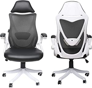 LUCKWIND Ergonomic Desk Chair Leather – Office Computer Adjustable Swivel Tilt Tension Lockable Flip-up Arm Cushion PU Leather & Breathable Mesh Lumbar Support Built-in Headrest Rubber Casters