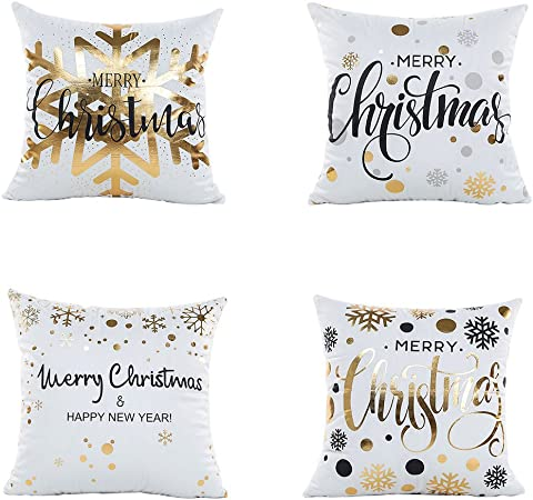 Leioh Christmas Pillow Covers 4 Pack Gold Stamping Print Snowflakes Merry Christmas Decorative Sofa Throw Pillow Case Cushion Covers 18 X 18 Inch Polyester Satin Fabric Home Kitchen
