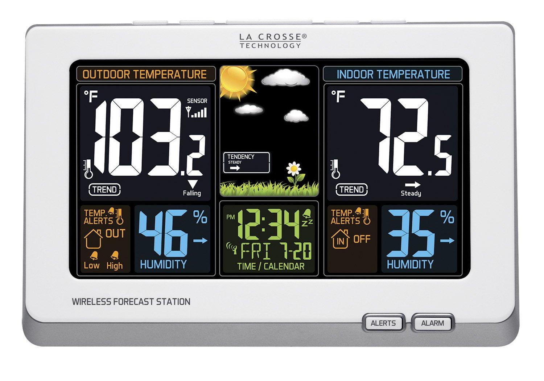 La Crosse Technology 308-1414W Wireless Atomic Digital Color Forecast Station with Alerts, White Ltd.