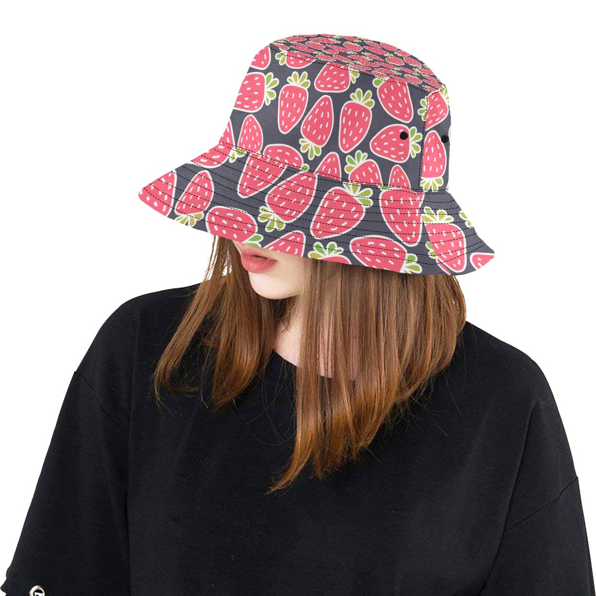 Delicious Fresh Strawberry Pink Decor New Summer Unisex Cotton Fashion Fishing Sun Bucket Hats for Kid Teens Women and Men with Customize Top Packable Fisherman Cap for Outdoor Travel