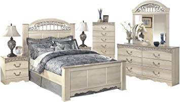 Ashley Catalina 6PC Queen Poster Bedroom Set With Two Nightstand & Chest In  Antique White