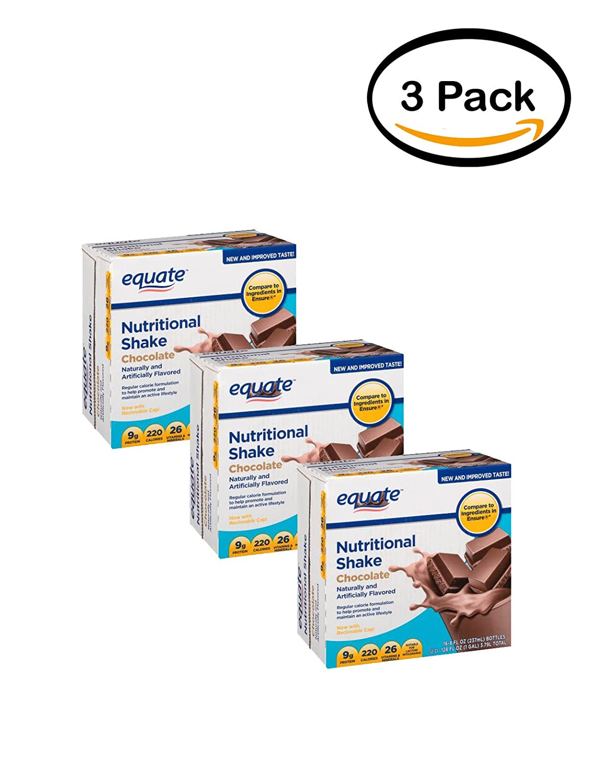 Amazon Com Pack Of 3 Equate Chocolate Nutritional Shake 8 Oz 16 Ct Grocery Gourmet Food