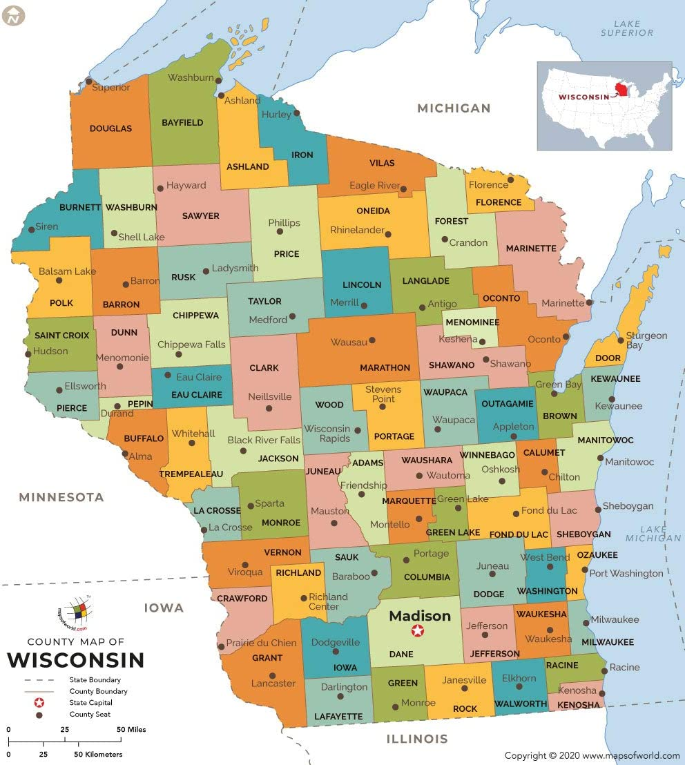 Counties In Wisconsin Map Amazon.: Wisconsin County Map (36