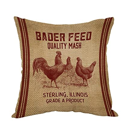 Moslion Vintage Like Chicken Feed Sack Burlap Pillow,Home Decor Throw  Pillow Cover Cotton Linen