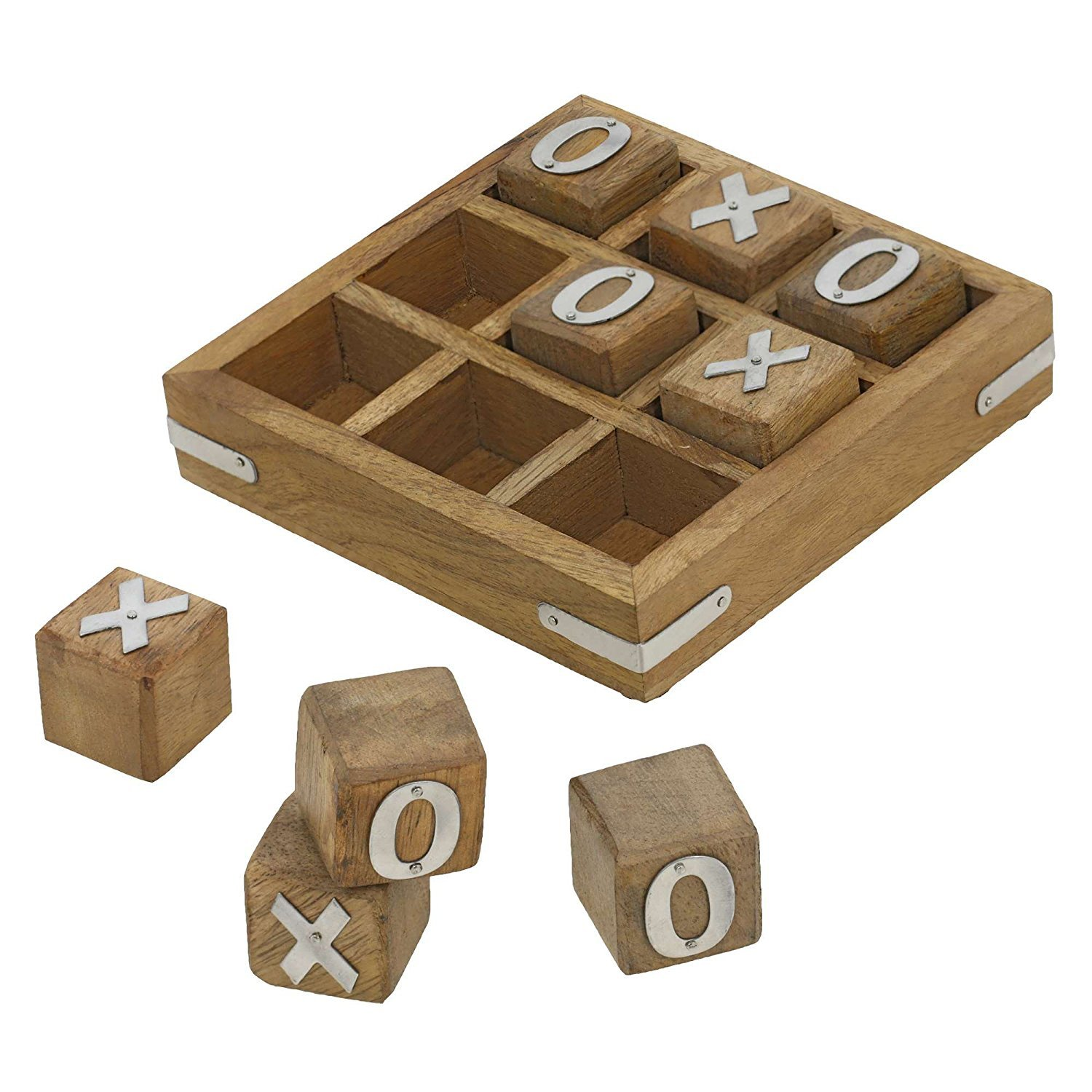 Indian Glance Tic Tac Toe Game Wooden Set for Kids Children - Travel Board Brain Teaser Game - Unique Gifts for Kids for All Occasions by Indian Glance