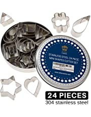Pie Crust & Cookie Cutter Set - Mini Molds to Cut Out Pastry Dough Design - Tiny Decorative Metal Stamps Leaf, Heart, Square, Triangle, Star, Rectangle, Flower, Ring & Geo Shapes to Cut Fondant & Clay