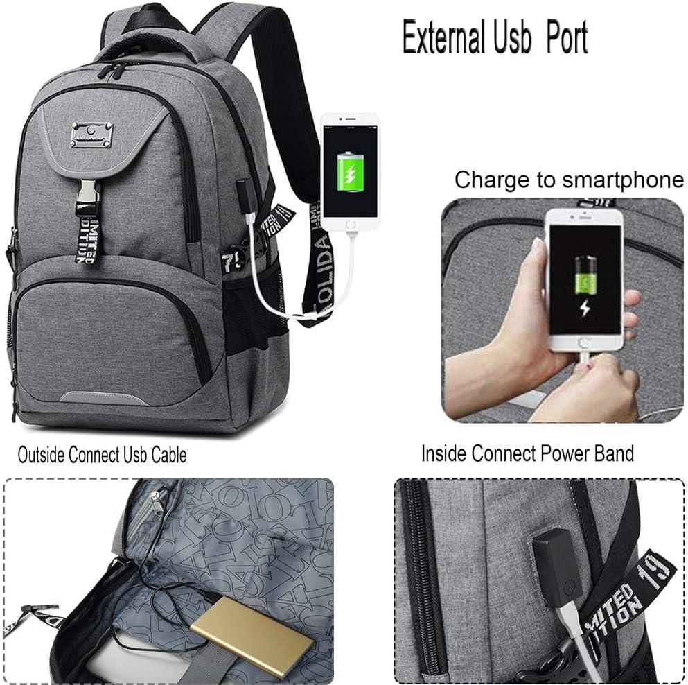 VOMAX Sac d Ecole, Sac a Dos Ordinateur 15.6 Pouces avec Port USB de Charge, College Sac a Dos Antivol Imperméable, Noctilucent Backpack Travel pour