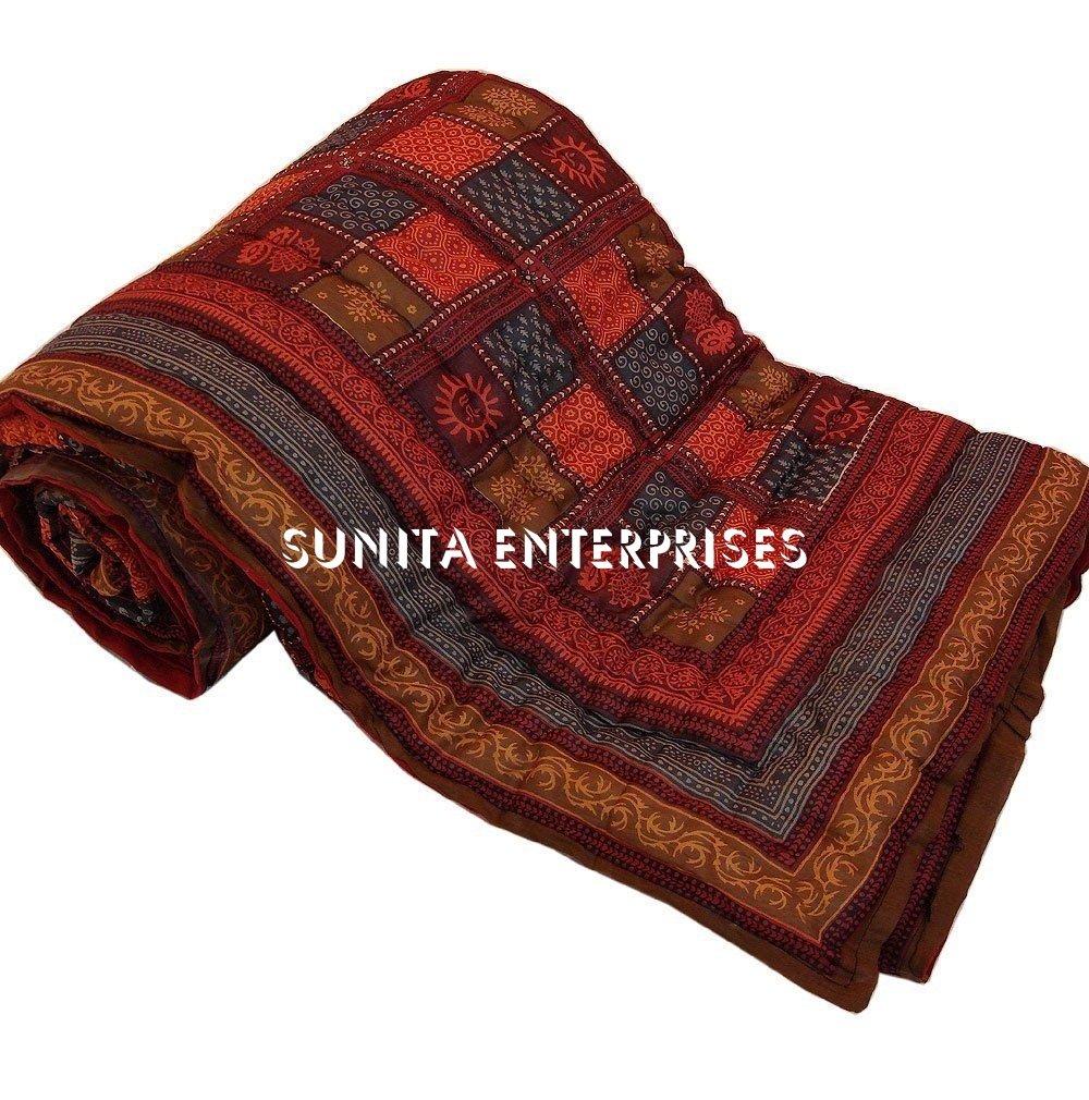 SUNITA ENTERRRISES Presents INDIAN Multi Block Cotton Design Authentic Handmade Reversible Rajasthani Single Bed Jaipuri Razai ( Sanganeri Quilt, Rajai ) With Cotton Filling From SUNITA ENTERPRISES