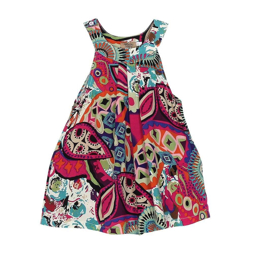 Linda Bohemia Ropa Bebe Ni/ña Verano Elegante Vestido de Princesa Sin Mangas Floral Impresi/ón Vestido para Ni/ñas Vestidos Bebe Ni/ña Vestidos Ni/ña Playa K-youth Vestido Ni/ñas