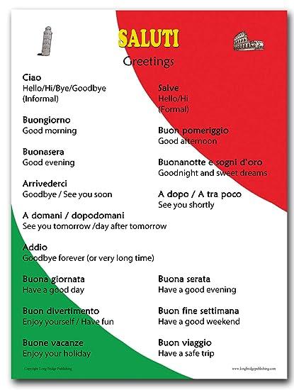 Amazon italian language poster common greetings for italian language poster common greetings for classroom playroom and language schools bilingual m4hsunfo