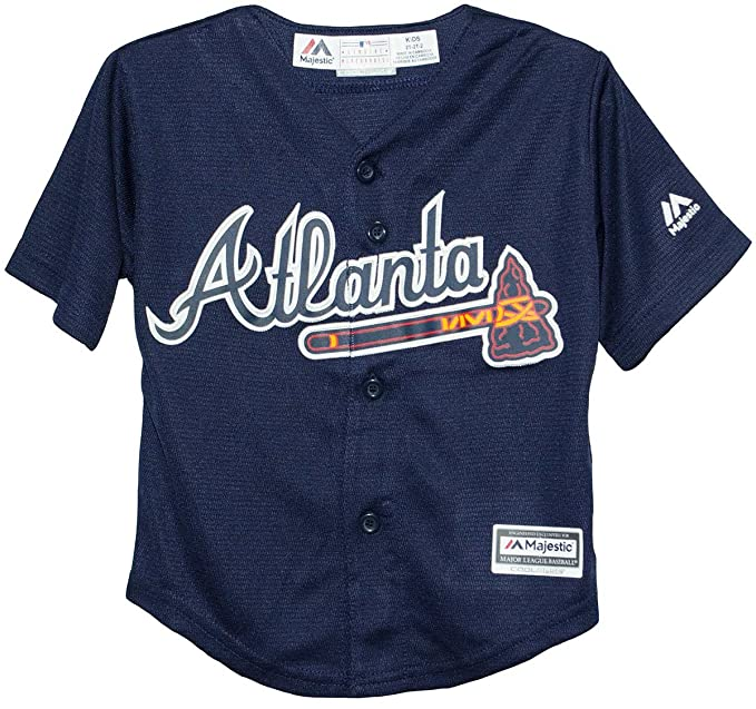 differently 40cb4 5d2f9 Amazon.com : Majestic Kid's MLB Atlanta Braves Baseball Navy ...